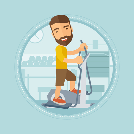 man working out: Caucasian hipster man with beard exercising on a elliptical machine in the gym. Young man working out using elliptical trainer. Vector flat design illustration in the circle isolated on background.