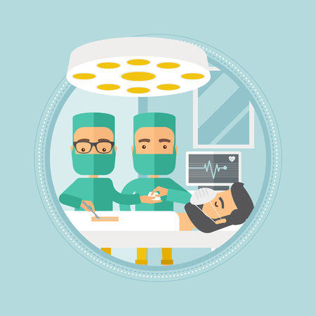 surgeon operating: Medical team working in operation theater. Two caucasian surgeons performing operation in operating room. Surgeons doing operation. Vector flat design illustration in the circle isolated on background