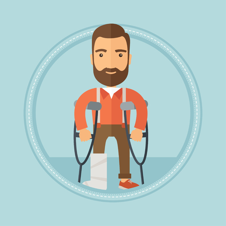 pierna rota: An injured caucasian hipster man with the beard standing on crutches. Young man with broken leg in bandages using crutches. Vector flat design illustration in the circle isolated on background.