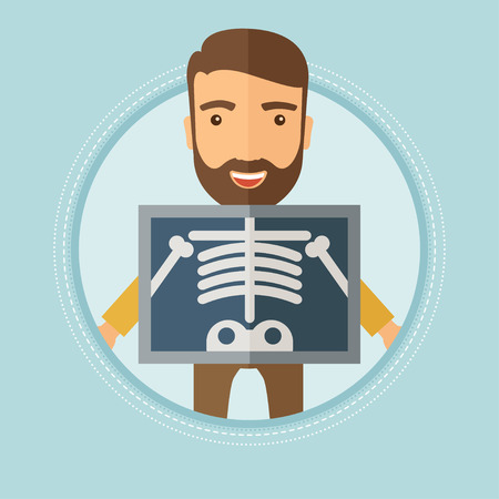 x ray equipment: Patient during chest x ray procedure. Young man with x ray screen showing his skeleton. Patient on reception at the radiologist. Vector flat design illustration in the circle isolated on background. Illustration