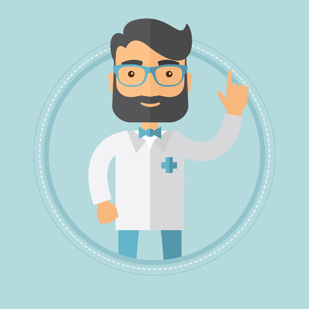 A happy caucasian hipster doctor with the beard showing finger up. Smiling doctor in medical gown pointing finger up. Vector flat design illustration in the circle isolated on background. Illustration