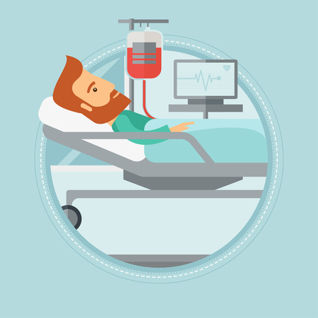 Hipster man lying in bed at hospital ward. Patient with heart rate monitor and equipment for blood transfusion in medical room. Vector flat design illustration in the circle isolated on background.