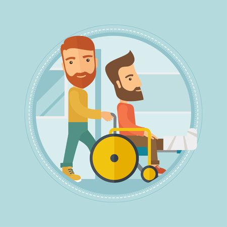 Caucasian hipster man pushing wheelchair with patient with broken leg. An injured man with fractured leg sitting in wheelchair. Vector flat design illustration in the circle isolated on background. Illustration