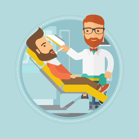 dental clinic: Hipster man sitting in chair at the dental office. Doctor and patient in the dental clinic. Patient on reception at the dentist. Vector flat design illustration in the circle isolated on background.
