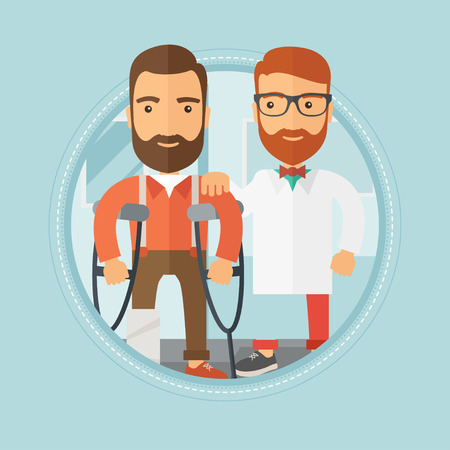Injured caucasian hipster man with beard standing on crutches on hospital background. Man with broken leg on reception at doctor. Vector flat design illustration in the circle isolated on background. Illustration