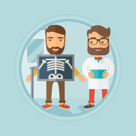 Caucasian hipster patient with beard during x-ray procedure in examination room. Cheerful patient on reception at the radiologist. Vector flat design illustration in the circle isolated on background.