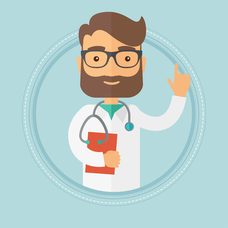 man pointing up: Caucasian hipster doctor with beard showing finger up. Doctor with stethoscope and file. Man in medical gown pointing finger up. Vector flat design illustration in the circle isolated on background. Illustration