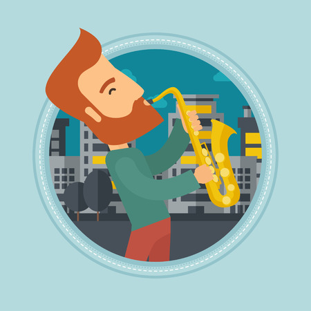 improvisation: Caucasian hipster musician playing on saxophone. Man playing on saxophone in the night. Man with saxophone in the city street. Vector flat design illustration in the circle isolated on background.