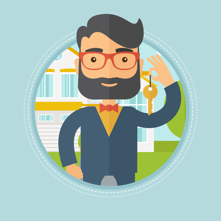 estate agent: Caucasian hipster male real estate agent holding key. Man with keys standing in front of the house. Happy new owner of a house. Vector flat design illustration in the circle isolated on background.