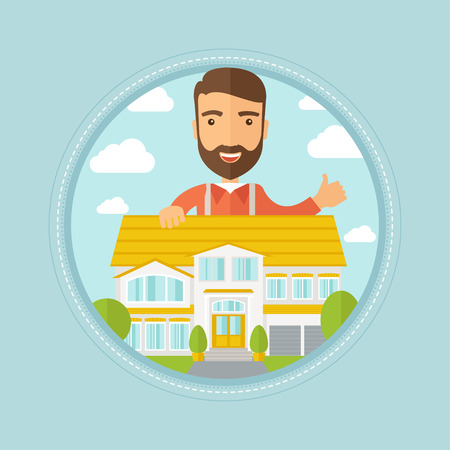 estate agent: Caucasian hipster real estate agent standing behind the house and giving thumb up. Male real estate agent offering the house. Vector flat design illustration in the circle isolated on background.
