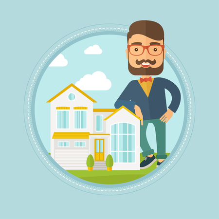 Hipster real estate agent standing near the house. Real estate agent leaning on the house. Real estate agent offering house. Vector flat design illustration in the circle isolated on background. Illustration