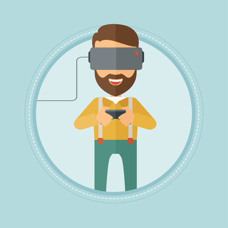 game controller: Caucasian hipster man with beard wearing a virtual reality headset. Young man playing video game with game controller in hands. Vector flat design illustration in the circle isolated on background. Illustration