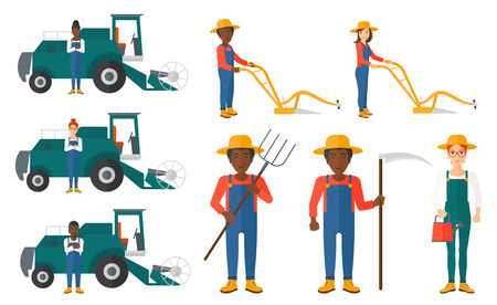 agricultural tools: Set of farmers using agricultural tools. Farmer with pitchfork, scythe, watering can. Farmer harvesting crop. Farmer using a plough and combine. Vector illustration isolated on white background.