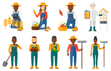 agricultural tools: Set of farmers using agricultural tools. Farmer with shovel, rake. Farmer in wheat field working on tablet. Farmer harvesting crop. Beekeeper at apiary.Vector illustration isolated on white background