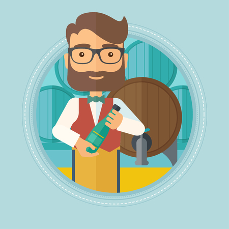 Caucasian hipster waiter with beard standing in wine cellar. Waiter with bottle in hands standing on the background of wine barrels.Vector flat design illustration in the circle isolated on background Illustration