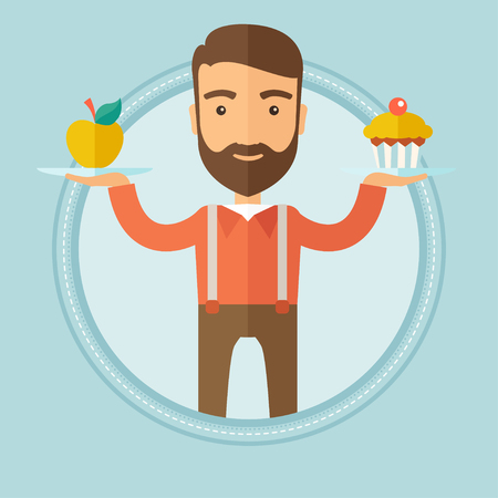 choosing: Caucasian hipster man with beard choosing between apple and cupcake. Young man choosing between healthy and unhealthy nutrition. Vector flat design illustration in the circle isolated on background.