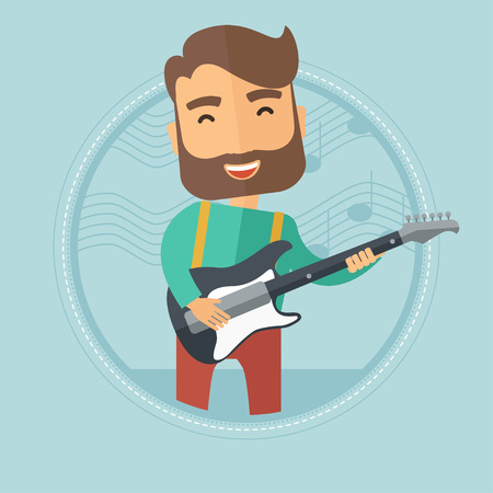 guy playing guitar: Caucasian hipster man with beard playing electric guitar. Young musician practicing in playing guitar. Guitarist playing music. Vector flat design illustration in the circle isolated on background.