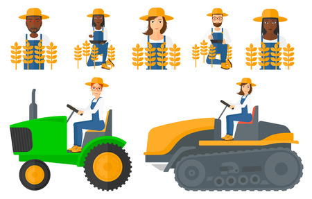 Set of farmers standing in a field. Farmer working on a digital tablet and checking harvest in a wheat field. Farmer using a tractor to plow a field. Vector illustration isolated on white background Illustration