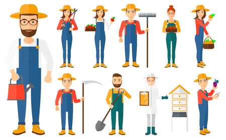 Set of farmers using agricultural tools. Beekeeper working at apiary. Farmer with shovel, rake, pruner, scythe, watering can. Farmer collecting harvest.Vector illustration isolated on white background Stock Illustratie