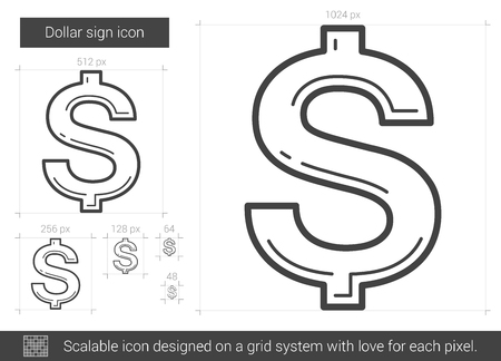 price gain: Dollar sign vector line icon isolated on white background. Dollar sign line icon for infographic, website or app. Scalable icon designed on a grid system.
