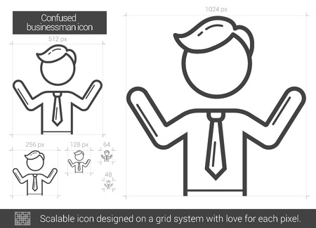 confused businessman: Confused businessman vector line icon isolated on white background. Confused businessman line icon for infographic, website or app. Scalable icon designed on a grid system. Illustration