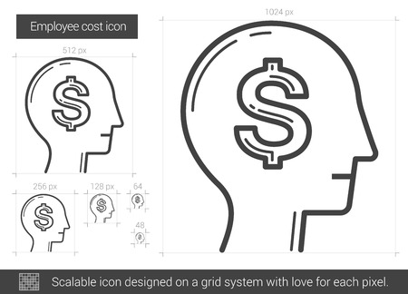 scalable: Employee cost vector line icon isolated on white background. Employee cost line icon for infographic, website or app. Scalable icon designed on a grid system.