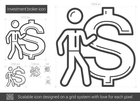 broker: Investment broker vector line icon isolated on white background. Investment broker line icon for infographic, website or app. Scalable icon designed on a grid system. Illustration