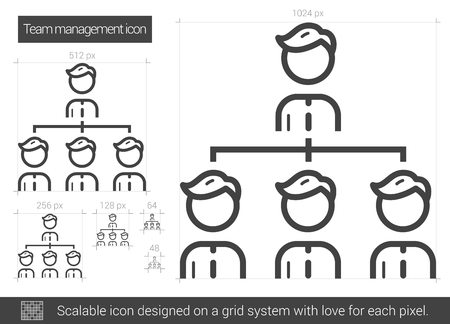 scalable: Team managment vector line icon isolated on white background. Team managment line icon for infographic, website or app. Scalable icon designed on a grid system.