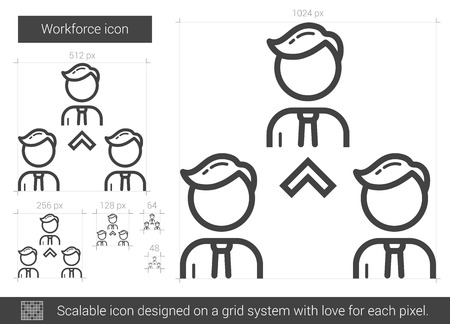 workforce: Workforce vector line icon isolated on white background. Workforce line icon for infographic, website or app. Scalable icon designed on a grid system. Illustration
