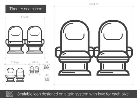 scalable: Theater seats vector line icon isolated on white background. Theater seats line icon for infographic, website or app. Scalable icon designed on a grid system.