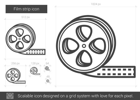film industry: Film strip vector line icon isolated on white background. Film strip line icon for infographic, website or app. Scalable icon designed on a grid system. Illustration