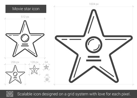 Movie star vector line icon isolated on white background. Movie star line icon for infographic, website or app. Scalable icon designed on a grid system. 向量圖像