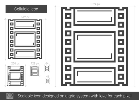 celluloid: Celluloid vector line icon isolated on white background. Celluloid line icon for infographic, website or app. Scalable icon designed on a grid system. Illustration