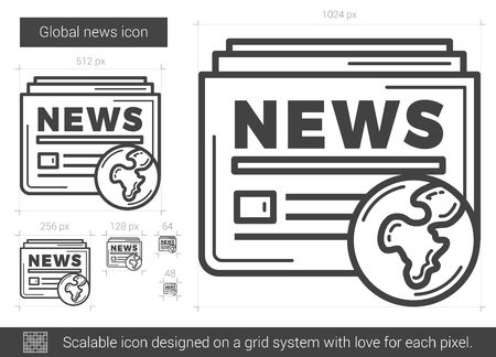 newspaper headline: Global news vector line icon isolated on white background. Global news line icon for infographic, website or app. Scalable icon designed on a grid system.