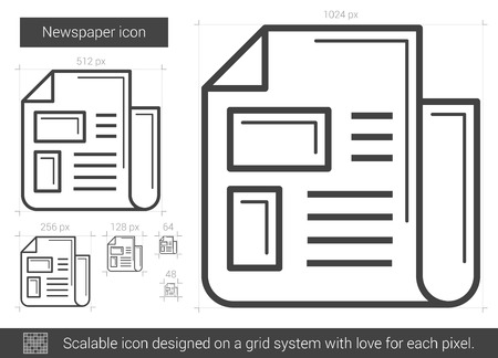 Newspaper vector line icon isolated on white background. Newspaper line icon for infographic, website or app. Scalable icon designed on a grid system. Vectores