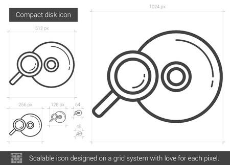 compact disk: Compact disk vector line icon isolated on white background. Compact disk line icon for infographic, website or app. Scalable icon designed on a grid system. Illustration