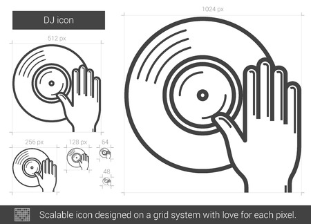 remix: DJ vector line icon isolated on white background. DJ line icon for infographic, website or app. Scalable icon designed on a grid system.