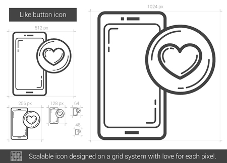 like button: Like button vector line icon isolated on white background. Like button line icon for infographic, website or app. Scalable icon designed on a grid system. Illustration