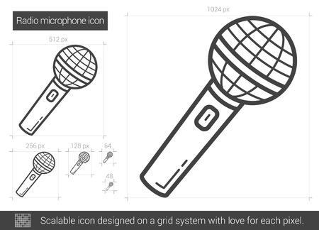 scalable: Radio microphone vector line icon isolated on white background. Radio microphone line icon for infographic, website or app. Scalable icon designed on a grid system. Illustration