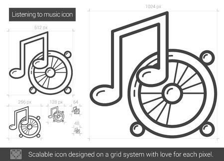 sub woofer: Listening to music vector line icon isolated on white background. Listening to music line icon for infographic, website or app. Scalable icon designed on a grid system. Illustration