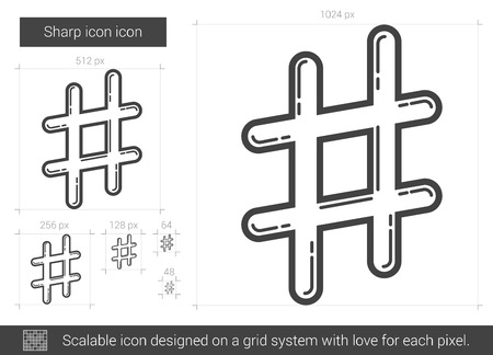 microblogging: Sharp vector line icon isolated on white background. Sharp line icon for infographic, website or app. Scalable icon designed on a grid system.