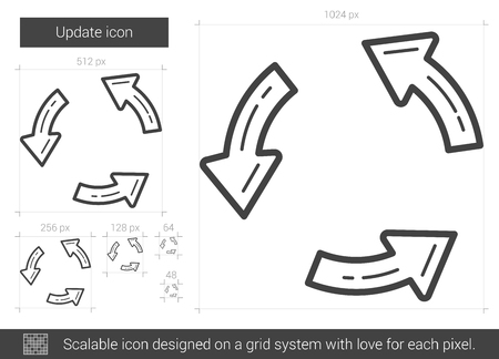 Update vector line icon isolated on white background. Update line icon for infographic, website or app. Scalable icon designed on a grid system.