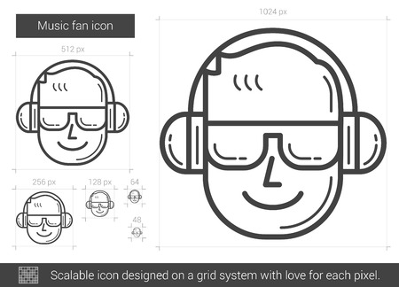 scalable: Music fan vector line icon isolated on white background. Music fan line icon for infographic, website or app. Scalable icon designed on a grid system. Illustration
