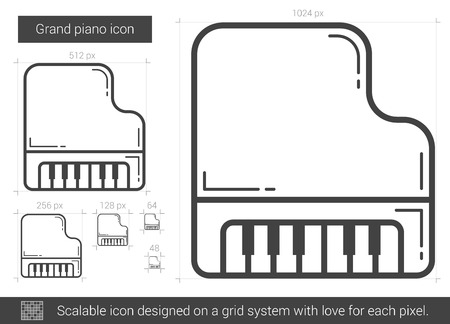 scalable: Grand piano vector line icon isolated on white background. Grand piano line icon for infographic, website or app. Scalable icon designed on a grid system. Illustration