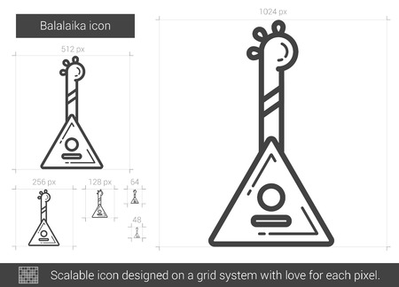 Balalaika vector line icon isolated on white background. Balalaika line icon for infographic, website or app. Scalable icon designed on a grid system. Illustration