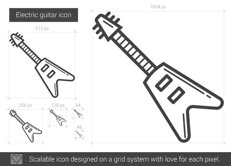 fret: Electric guitar vector line icon isolated on white background. Electric guitar line icon for infographic, website or app. Scalable icon designed on a grid system.