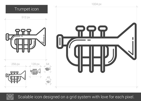 trumpet isolated: Trumpet vector line icon isolated on white background. Trumpet line icon for infographic, website or app. Scalable icon designed on a grid system.