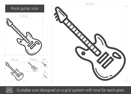 strum: Rock guitar vector line icon isolated on white background. Rock guitar line icon for infographic, website or app. Scalable icon designed on a grid system.