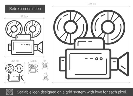 video camera: Retro camera vector line icon isolated on white background. Retro camera line icon for infographic, website or app. Scalable icon designed on a grid system.
