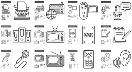 journalism: Journalism vector line icon set isolated on white background. Journalism line icon set for infographic, website or app. Scalable icon designed on a grid system.